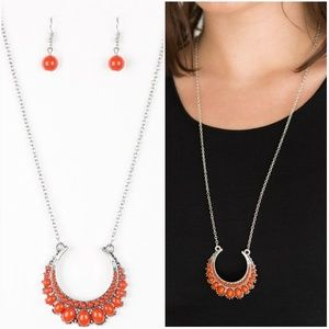 COUNT TO ZEN ORANGE NECKLACE/EARRING SET